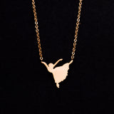 Rose Gold - Stainless Steel Dancer Cutout Mini Dainty Minimalist Necklace