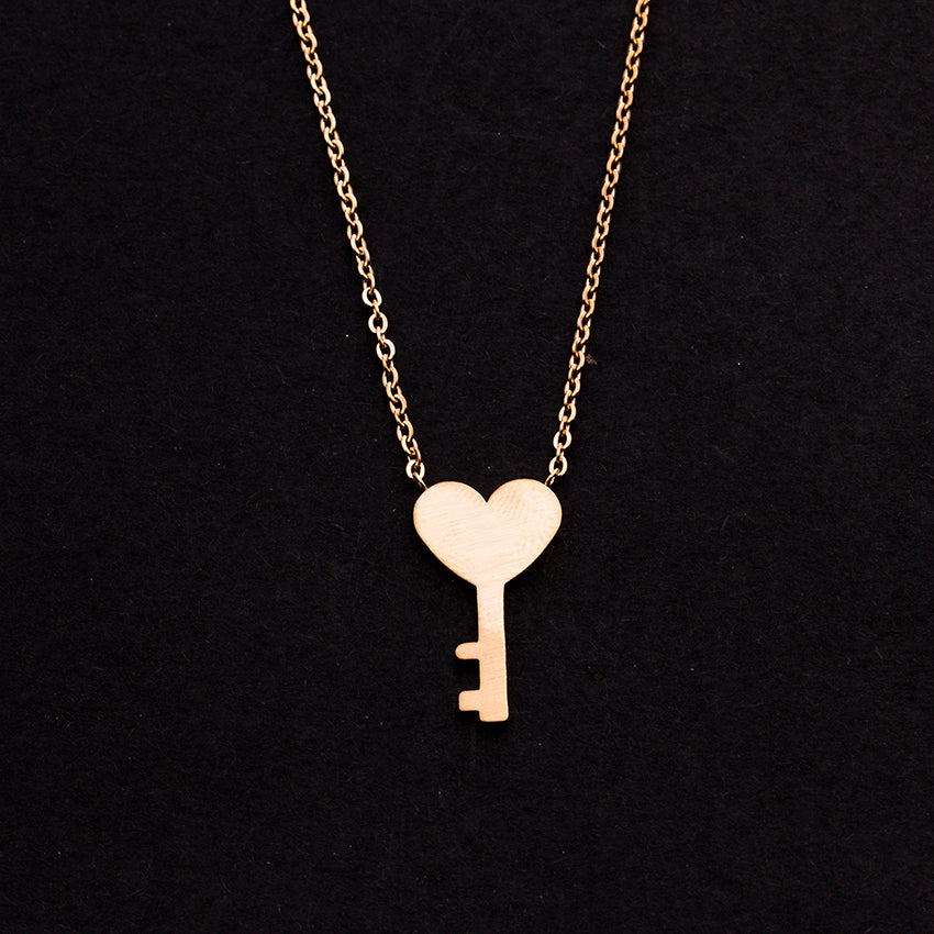 Rose Gold - Stainless Steel Key to My Heart Cutout Mini Dainty Minimalist Necklace