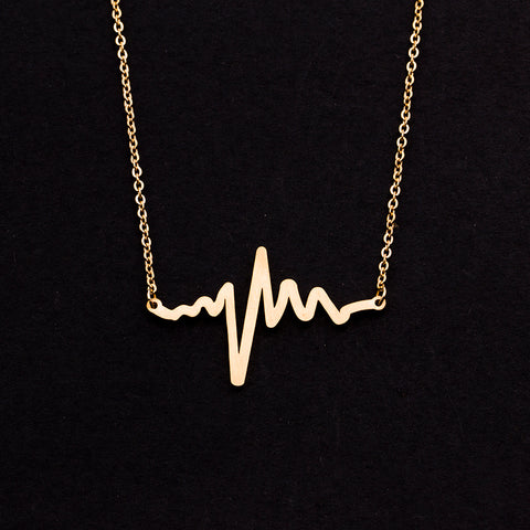 Rose Gold - Stainless Steel Heart Beat Cutout Mini Dainty Minimalist Necklace