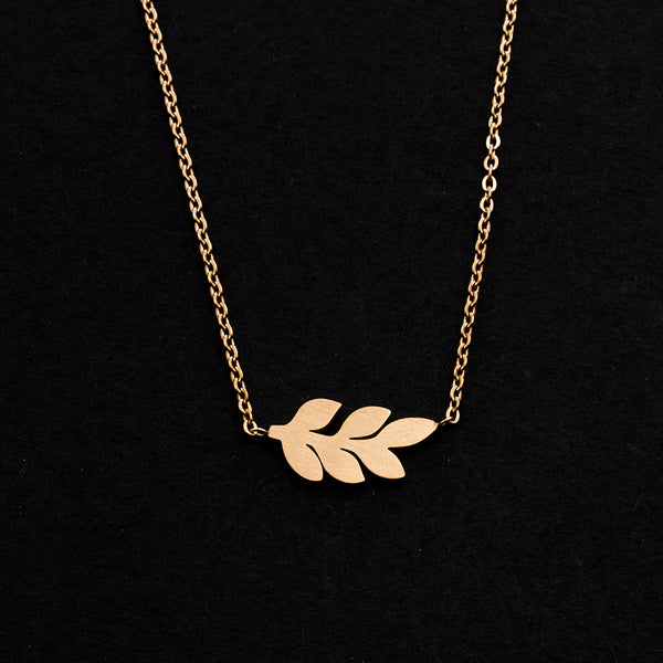 Rose Gold - Stainless Steel Leaf Cutout Mini Dainty Minimalist Necklace