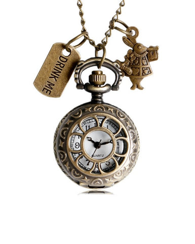 Alice In Wonderland White Rabbit Drink Me - Small Pocket Watch Necklace