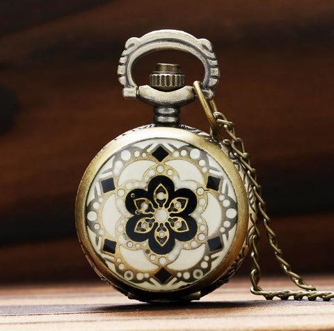 Black and White Symmetrical Pattern - Small Pocket Watch Necklace
