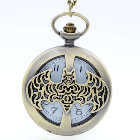 Batman Inspired Bat Cutout Large Pocket Watch necklace - Antique Gold