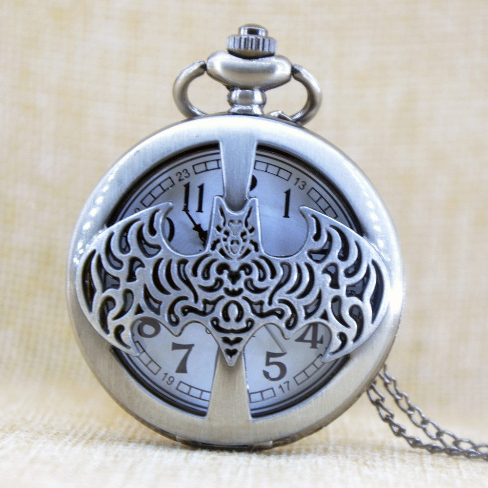 Batman Inspired Bat Cutout Large Pocket Watch necklace - Grey