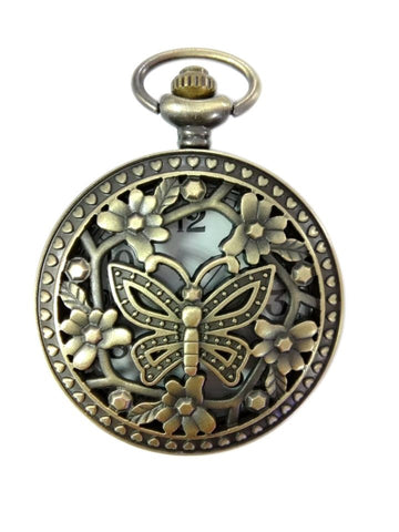 Butterfly Cutout Large Pocket Watch Necklace - Antique Gold
