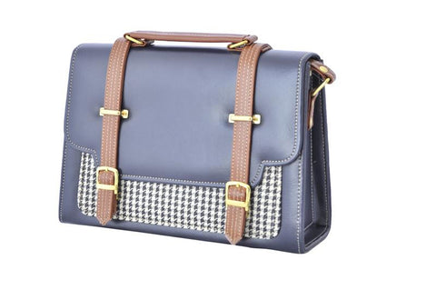 Double Strap Saddle Envelope Satchel Bag in Navy