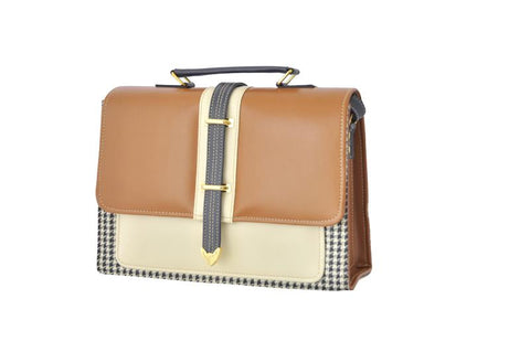 Envelope Style Retro Inspired Satchel Bag in Houndstooth and Tan