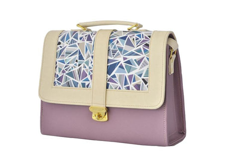 Geometric Pattern Envelope Satchel Bag in Lilac