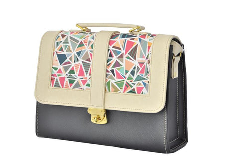 Geometric Pattern Envelope Satchel Bag in Black