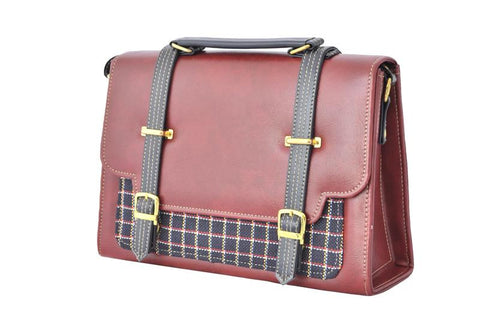 Double Strap Envelope Style Retro Inspired Satchel Bag in Maroon