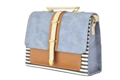 Envelope Style Retro Inspired Satchel Bag in Light Denim and Stripes