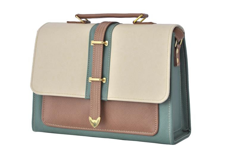 Envelope Style Retro Inspired Satchel Bag in Green