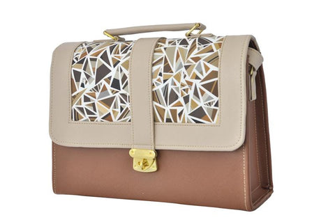 Geometric Pattern Envelope Satchel Bag in Tan