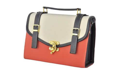 Double Strap School Satchel in Orange - Small