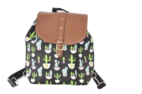 Canvas Drawstring Rucksack Backpack - Cactus
