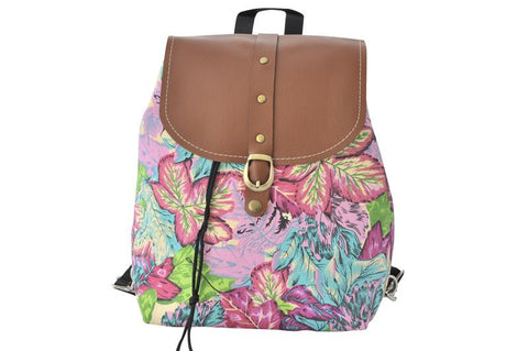 Canvas Drawstring Rucksack Backpack - Colourful leaves