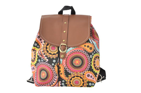 Canvas Drawstring Rucksack Backpack - Colourful Circles