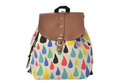 Canvas Drawstring Rucksack Backpack - Colourful Raindrops