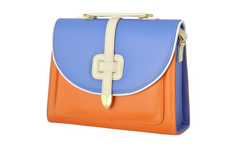 Orange and Blue Satchel Handbag