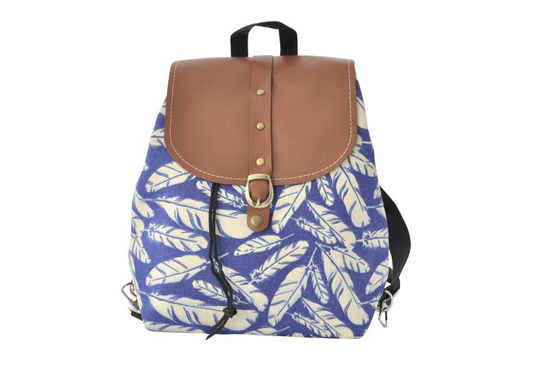 Canvas Drawstring Rucksack Backpack - Feathers