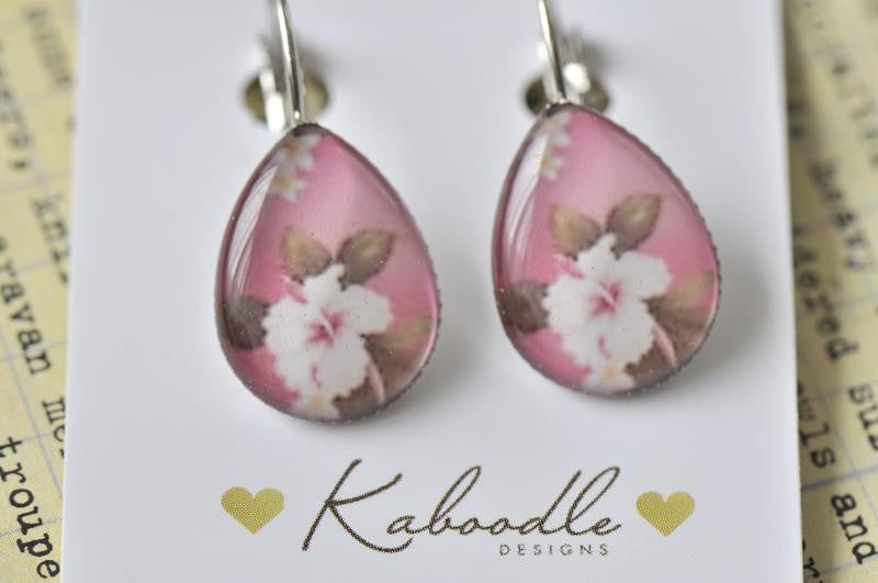 Handmade Teardrop Clip Dangle Flowers Earrings - TDE100