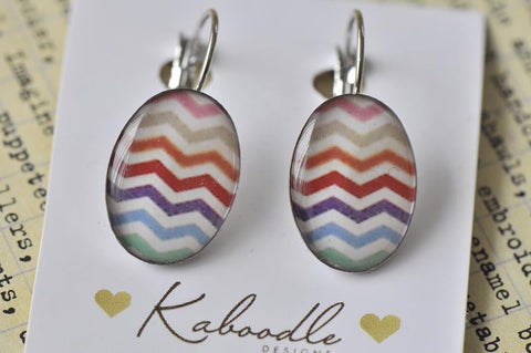 Handmade Oval Clip Dangle Chevron Earrings - ODE101