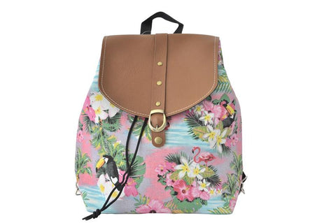 Canvas Drawstring Rucksack Backpack - Flamingo Paradise