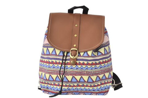 Canvas Drawstring Rucksack Backpack - Aztec