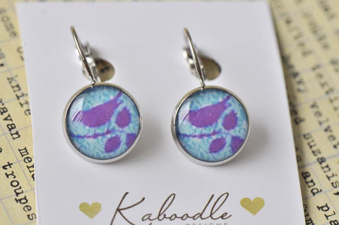 Handmade Round Clip Dangle Birds Earrings - CDE112