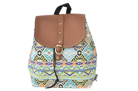 Canvas Drawstring Rucksack Backpack - Aztec Green