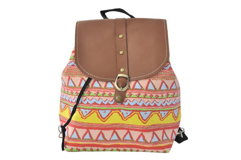 Canvas Drawstring Rucksack Backpack - Aztec Peach