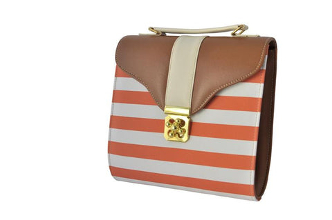 Curved Bottom Retro Bag in Orange and White Stripes