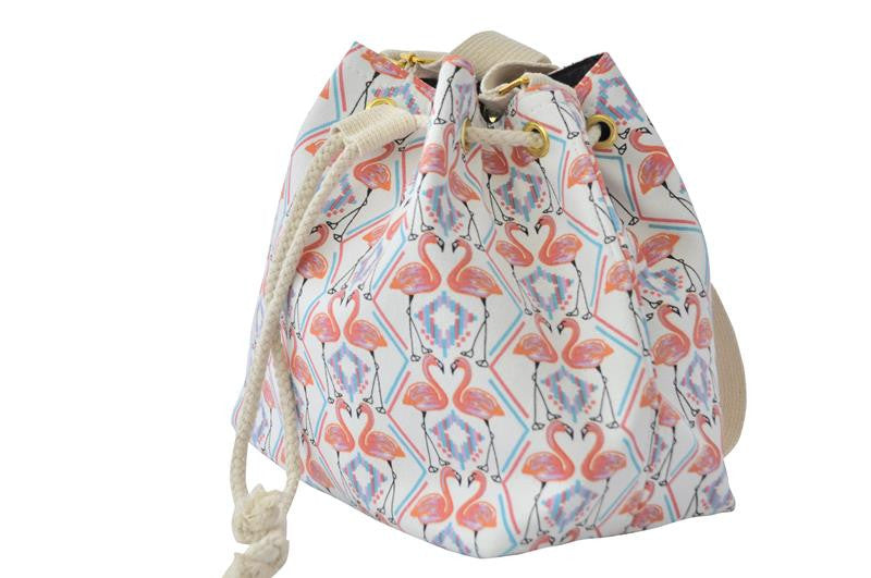 Drawstring Bucket Handbag - Twin Flamingo