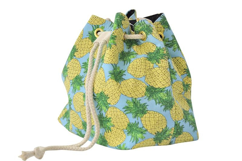 Drawstring Bucket Handbag - Pineapples