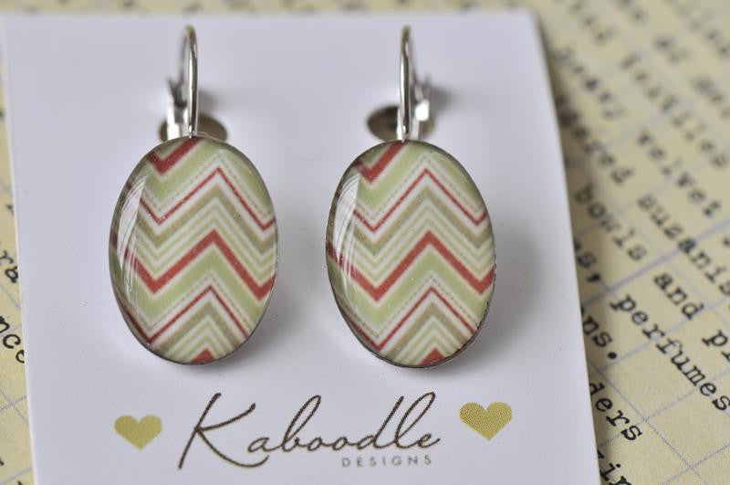 Handmade Oval Clip Dangle Chevron Earrings - ODE102