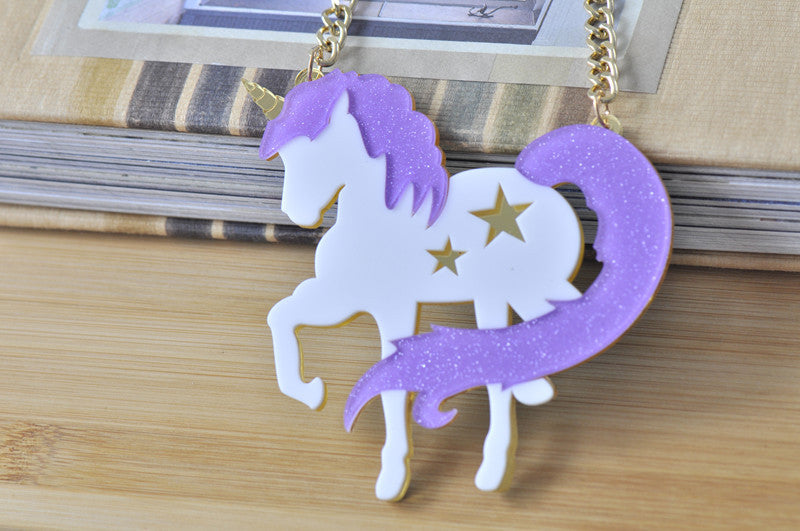 Large Unicorn Laser Cut Perspex Necklace