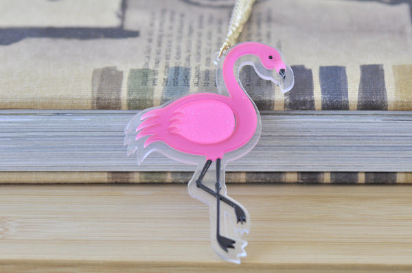 Pink Flamingo Laser Cut Perspex Kitsch Necklace