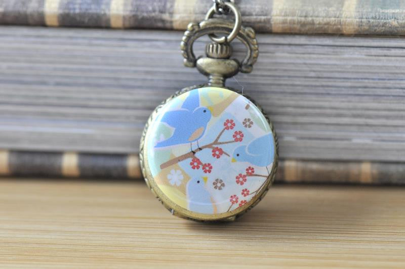 Trio of Birdies - Handmade Pocket Watch Necklace