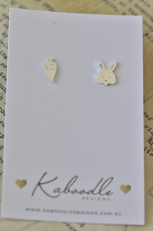 Silver - Stainless Steel Rabbit and Carrot Cutout Mini Dainty Minimalist Stud Earrings