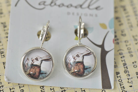 Handmade Alice In Wonderland White Rabbit Round Clip Dangle Earrings CDE19