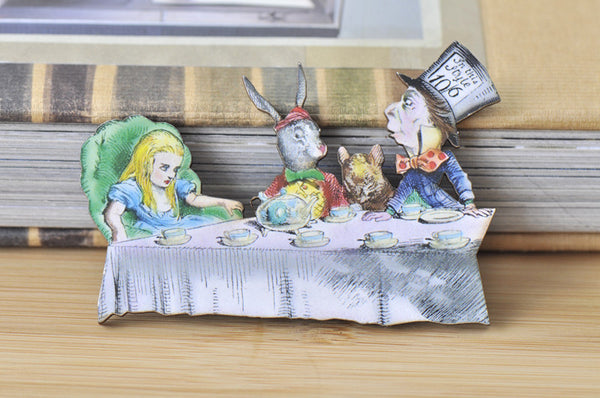 Alice in Wonderland Mad Hatter Tea Party Large Wooden Laser Cut Brooch