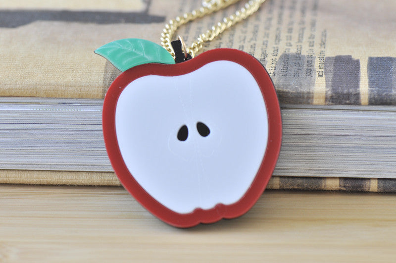 Apple Laser Cut Perspex Kitsch Necklace