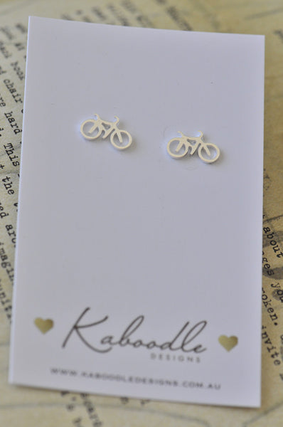 Silver - Stainless Steel Bicycle Cutout Mini Dainty Stud Earrings