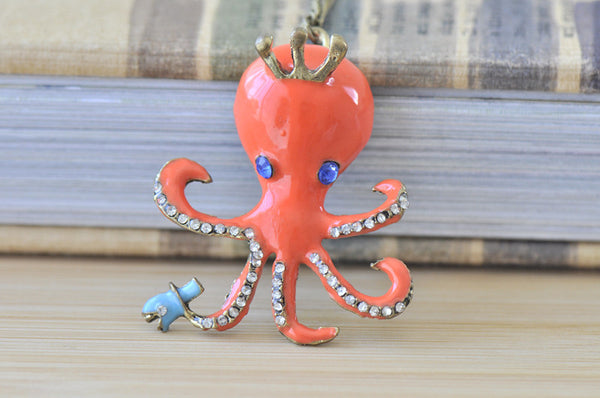 Orange Enamel and Diamontes Octopus Kitsch Necklace