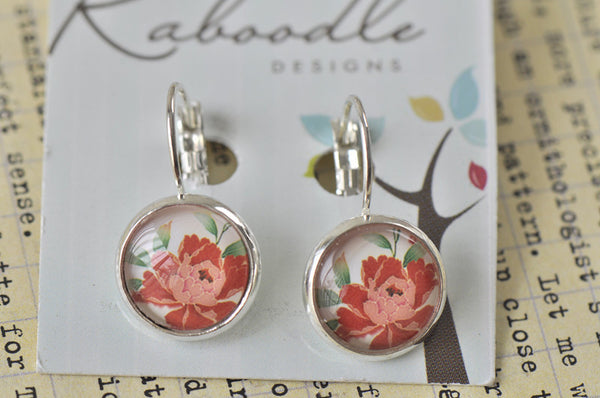 Handmade Round Clip Dangle Red Flower Earrings - CDE136