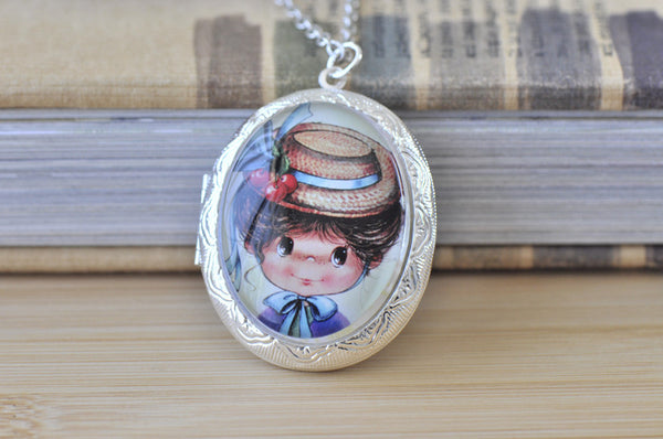 Large Oval Locket - Vintage Moppet Girl 2