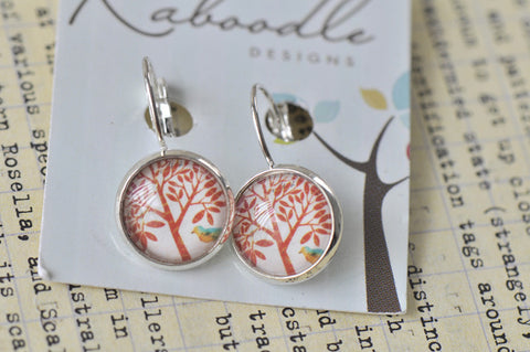 Handmade Round Clip Dangle Tree and Bird Earrings - CDE139