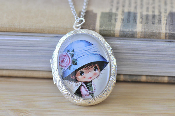Large Oval Locket - Vintage Moppet Girl 3