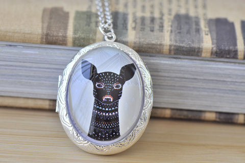 Large Oval Locket - Wild and Free Deer