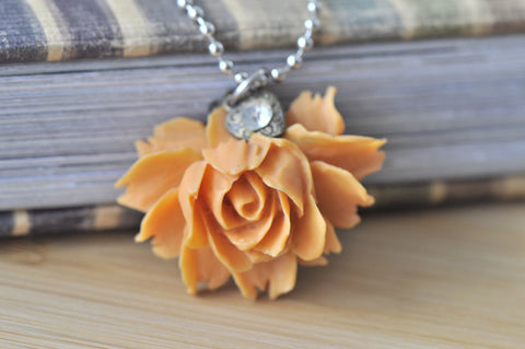 Isabella In Orange - Flower Necklace